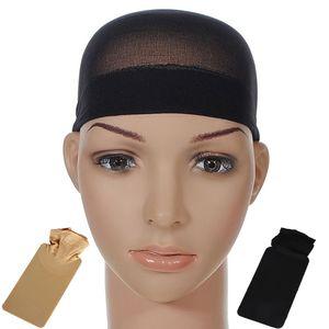 1 conjunto Cap Wig Cap Macio e Confortável Unisex Meia Peruca Hairnet Cap (Pele Cor ou Cor Preta)