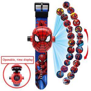 La proyección en 3D de dibujos animados patrón relojes de los niños de los niños del hombre araña de hierro muchachas reloj de pulsera digital Niño Niños Relogio Masculino