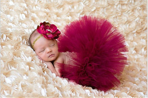Wine red Newborn Tutu Skirt With Flower Headband+Skirt 2pcs set Baby Girls Birthday Photography Props Kids Halloween Princess Party Clothes