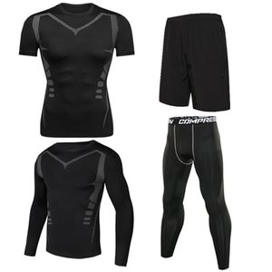 4pcs   set Men's Tracksuit Sport Suit Gym Fitness Compression Clothing Running Jogging Sport Wear Exercise Workout Tights
