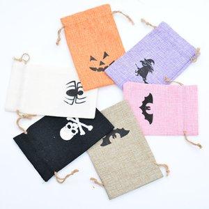 10 * 14 cm Sacos de Cordão de Halloween sacos de doces Pacote de Abóbora Bolso Sackcloth Presente Pocking party Decor adereços FFA2869