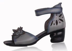 Xiuteng Novo Verão Grosso Sandálias de Salto Alto Genuíno Couro Mulheres Sapatos Personalidade Flor Lazer Mulheres Sandálias Artesanais Sapato