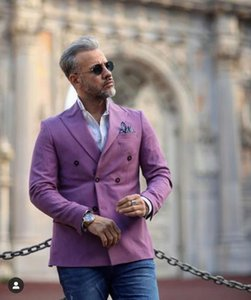 Costume Homme Purple Men Jacket Only 2020 New Double Breasted Wedding Groom Men Suit Terno Tuxedo Blazer Masculino Coat