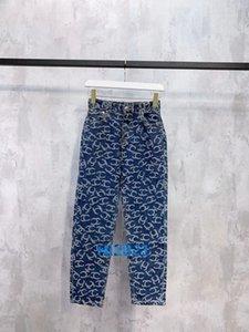 donne ragazze di fascia alta denim pantaloni jeans tutto monogramma lettera tasca matita epoca casuali dei pantaloni leggings donne di modo i pantaloni