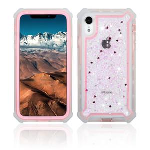 Para iphone 6 7 8 Transparent Border Glitter 3 em 1 híbrido Combo Defender para iPhone 6 7 8 mais Phone Case B