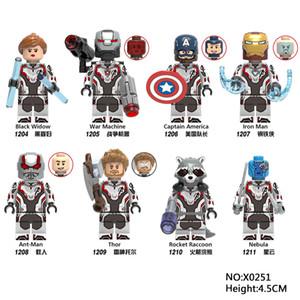 8pcs / lot Avengers 4 Super Heroes Vedova Nera Thor Iron Man Ant-Man Collection minifig Giocattoli Mini figure building block xinh
