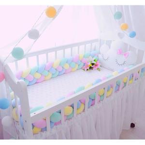 2M3M 4 Knot Suave Bebê Bed amortecedor berço Sides 4 Braid 2 Medidor de recém-nascido Crib Pad Proteção de berço de cama para os infantil