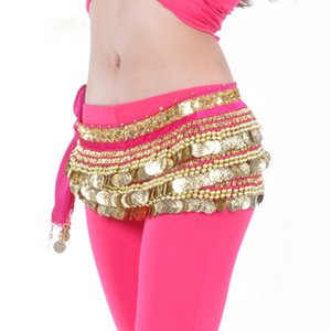 Egito Belly Dance Belt Com Moedas pesado Belly Dance Hip Scarf For Women Professional Bellydance Costume Acessórios Velvet Belt