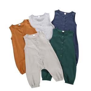 060609 Onesies Yenidoğan Bebek Çizgili Jumpsuit 5 Renk Katı Bebek Romper Bebek Bebek Çocuk Casual Giyim Bebek Kolsuz Düğme