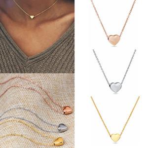 Girls Love Coeur Colliers Rose Or Argent Coeur pendentif en forme de chaîne Clavicule femmes Bijoux cadeau HA1129