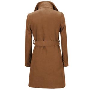 Новые женские зимние пальто мода сплошной цвет Женская верхняя одежда пояса отворотом шеи повседневные женские шерстяные пальто