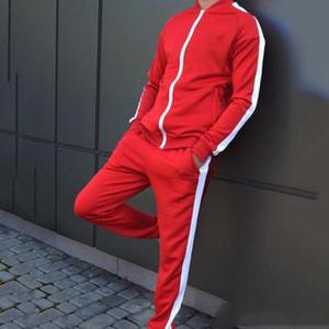 Erkek Ceket + Pantolon Eşofman Erkek Çizgili ekleme Uzun Kollu Spor Giyimi tasarımı fermuar siyah Casual 2 Adet Set cebi kırmızı