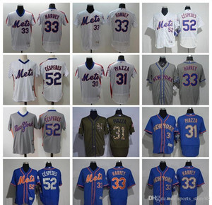Uomini Donne gioventù NY Mets Jersey # 33 Matt Harvey 31 Mike Piazza 52 Yoenis Céspedes Throwbacks Baseball Maglie