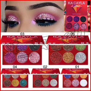 KA CAYLA Mini 6 Cor Injeções de Glitter Pressionado Glitters Única Sombra de Diamante Arco-íris Maquiagem Cosméticos Sombra de Olho Paleta