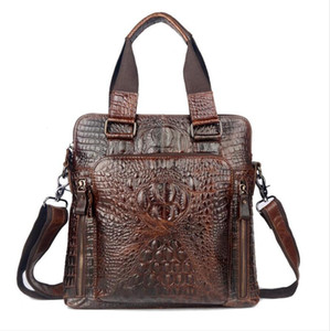 남성 새로운 악어 스타일 남성의 비즈니스 메신저 가방 어깨 핸드백에 대한 첫 번째 레이어 암소 가죽 정품 가죽 가방