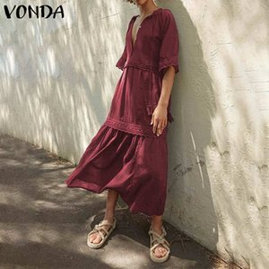 Women Summer Dress 2020 VONDA Sexy V Neck Half Sleeve Party Dresses Plus Size Bohemian Evening Party Robe Loose Beach Vestido
