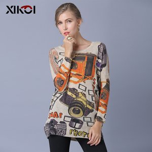 XIKOI Oversize Sweater Fashion Art Print Batwing Sleeve Slash Neck Mujeres Suéteres Casual Jerseys Tejido por computadora Mujeres Jumper