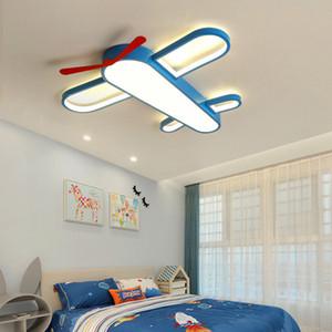 Per bambini ragazzi e le ragazze camera plafoniera LED cartone animato caldo aereo da letto lampada della stanza protezione degli occhi oscuramento lampade in ferro battuto