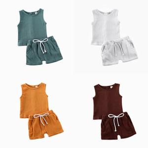 Été Enfants Bébé Filles Garçons en vrac solide couleur Haut sans manches boutonnées Bracelet bande élastique Pantalon court Survêtements Set Outfit