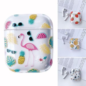 Erdbeere Flamingo-Blumen-Drucken-Plastikkasten-Kopfhörer für Apple Airpods Bluetooth drahtloser Kopfhörer-Schutzhülle Box