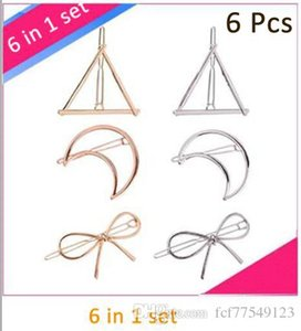 Tamax 6pcs Minimalista Dainty Gold Silver Hollow Geometric Metal Hairpin Clip per capelli, triangolo e luna