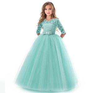 Neuer Spitzenrock Prinzessin Spitzenkleid Kind-Blumen-Stickerei-Kleid für Mädchen-Weinlese-Kinder-Kleider für Hochzeit Formal Ballkleid 14t
