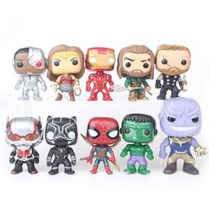 10pcs / set Justice League Marvel Avengers 10cm Ironman IronSpider Thanos Hulk Modèle Vinyle Figure Modèle Jouets pour Enfants