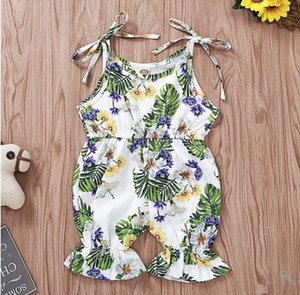 Girl Sleeveless Floral Print Romper Baby Summer Lotus Edge Jumpsuit Kids Clothes One Piece ZHT 257