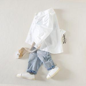 Boys' long-sleeved white Tuxedo white shirt 2020 season boys' lapel shirt kids' children's dovetail top
