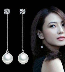 Мода серебро-цвет Имитация Pearl Подвеска длинное ожерелье Цирконий Длинные серьги Люкс Свадебные Pearl Ювелирные серьги-й