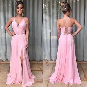 Pink Deep V-Neck High Slit Prom Dresses With Bead Sash Lace-up Backless Formal Prom Party Gowns Plus Size Long Evening Dresses
