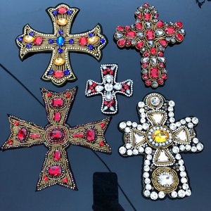 3D Craft Beaded Crystal Rhinestones Cross Design Patches Applique Sew on Patches Clothes Bags Decorated DIY Sewing