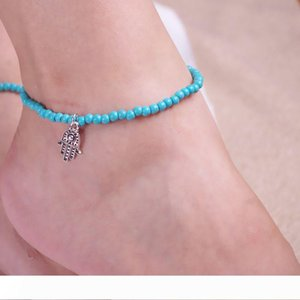 Women Girls Stylish Hamsa Hand of Fatima Bead Jewelry Ankle turquoise Barefoot Beach Ankle Elastic Foot Chains Anklets Bracelets Free DHL
