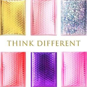 Oro / Rosa de Oro / Plata Láser / rojo oscuro / púrpura / rosa roja del papel de aluminio burbujea anuncio publicitario de CD / Pestaña de empaquetado de envío Sobres acolchados