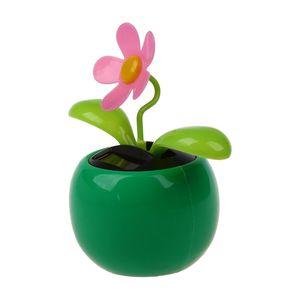 Flip Flap Solar Powered Flower Flowerpot Swing Dancing Toy Novelty Home Ornament - Green