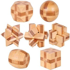 ht Wholesale-7pcs / lot 3D ecológico de bambú IQ cerebro rompecabezas de reclamo adultos rompecabezas, juguetes de madera educativos para niños