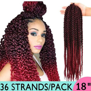 """Crochet Hair 3D Cubic Twist 18 """"(3 piezas) 4S Crochet Braids Ombre trenzas sintéticas extensiones de cabello (T1B / BUG)"""