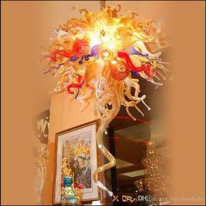 Fashionable LED Modern Chandelier Colorido Tiffany Chihuly Estilo Mão Europeia Dale soprado de Murano Vidro Lustres Iluminação