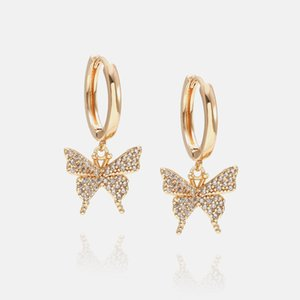 Luxury jewelry women star heart butterfly designer earrings copper with gold plated diamond earrings for girl fashion style hoop stud