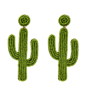 Bildirimi Akrilik Boncuk Cactus Bırak Küpe İçin Kadınlar El yapımı Tohum Boncuklu Tropikal Meyve Dangle Küpe Sevimli Beach Takı