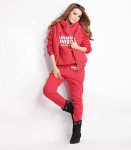 Abbigliamento femminile di inverno di stile 6XL sport delle donne del progettista 3Pcs Tute Felpe solido di colore lunga lettera manica Stampa Vest Pantaloni