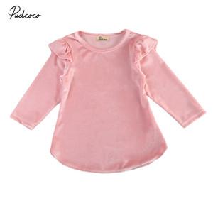 Princess Dress Tutu partido Meninas Rosa do bebé nova Primavera Outono Criança Vestidos Pleuche para a menina roupa 0-4T