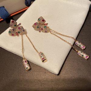 Silver Needle Zircon Color Small Flower Two Tassel Pendant Long Drop Earrings Butterfly Flower Fresh Earrings