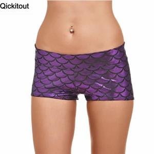 Qickitout Shorts 2020 Verão Mulheres Moda Elasticidade Shorts roxo sereia escalas Digtal Impressão Academia Gota navio