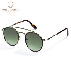 COLOSSEIN Sunglasses Women Men Retro Fashion Round Glasses UV400 Metal Acetate Frame Eyewear lentes gafas de sol mujer SH190924