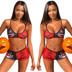 2020 Women Swimwear Tie up Bra + Shorts Swimming Trunks 2 Piece Tracksuit Patchwork Shark Camo Swimsuit Bikini SetsA22601