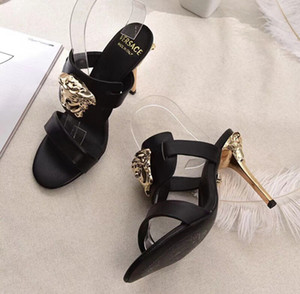 2020 hot Summer new European and American sexy black transparent peep-toe sandals.Shallow mouth and buckle 10cm high heel 35-41