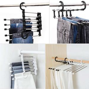 السراويل رفوف رف خزانة ماجيك شماعات توفير مساحة متعددة الوظائف الفولاذ المقاوم للصدأ الأزياء اللوازم المنزلية أسود أبيض