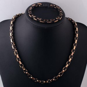 "8MM Charms 316L Stainless Steel Black&Rose Gold Handmade Byzantine Box Chain Men's Link Necklace 22""&Bracelet 8.66"""