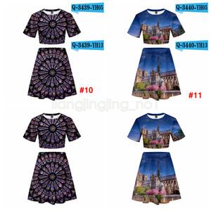 Notre Dame de Paris T-shirt set gonna unisex 3D stampata delle donne Hip Hop camicia High Street due pezzi Top abito L-JJA2100